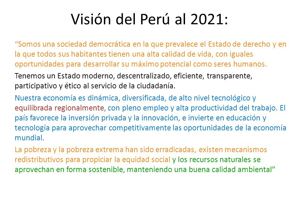 Visión del Perú al 2021: