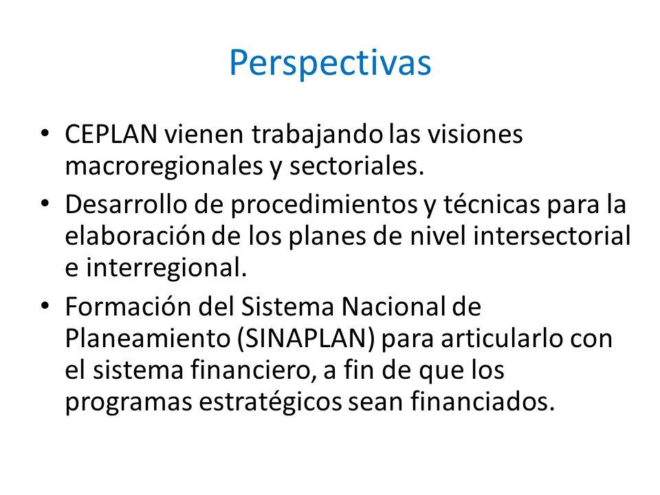 Perspectivas CEPLAN vienen trabajando las visiones macroregionales y sectoriales.