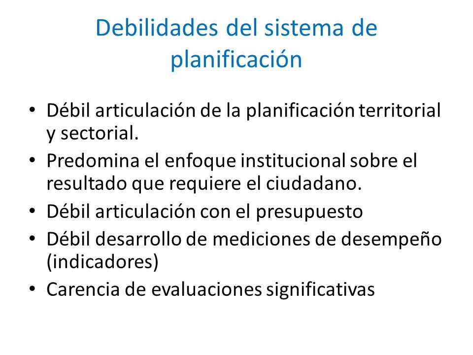 Debilidades del sistema de planificación
