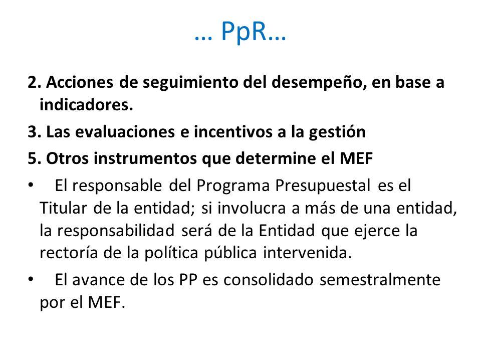 … PpR… 2. Acciones de seguimiento del desempeño, en base a indicadores. 3. Las evaluaciones e incentivos a la gestión.