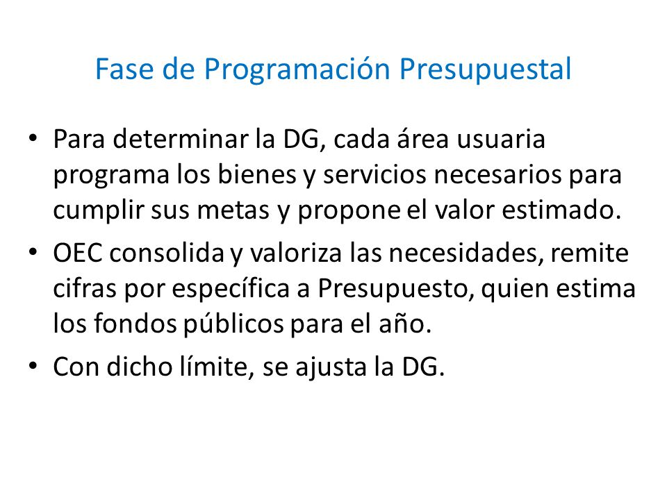 Fase de Programación Presupuestal