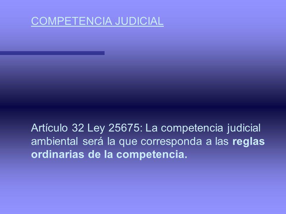 COMPETENCIA JUDICIAL Artículo 32 Ley 25675: La competencia judicial. ambiental será la que corresponda a las reglas.