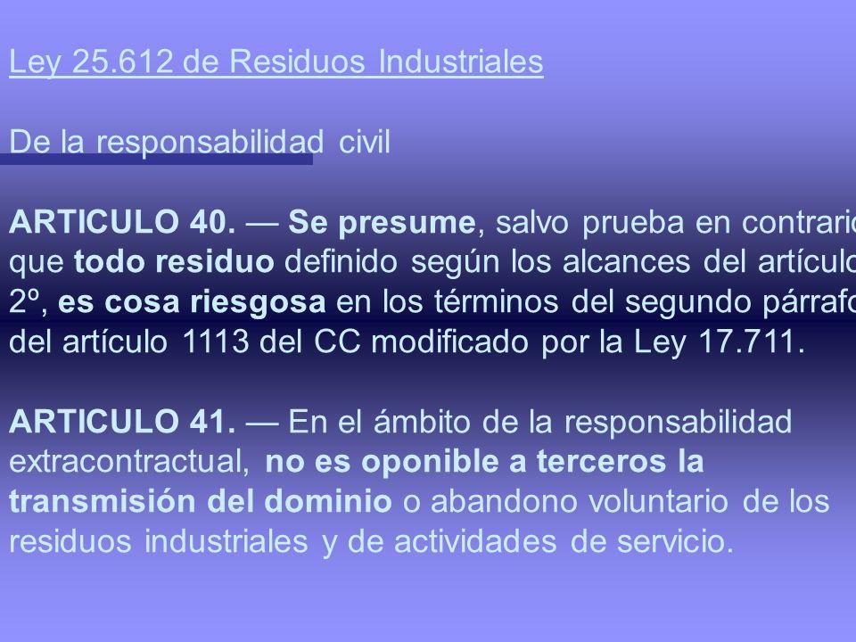 Ley 25.612 de Residuos Industriales