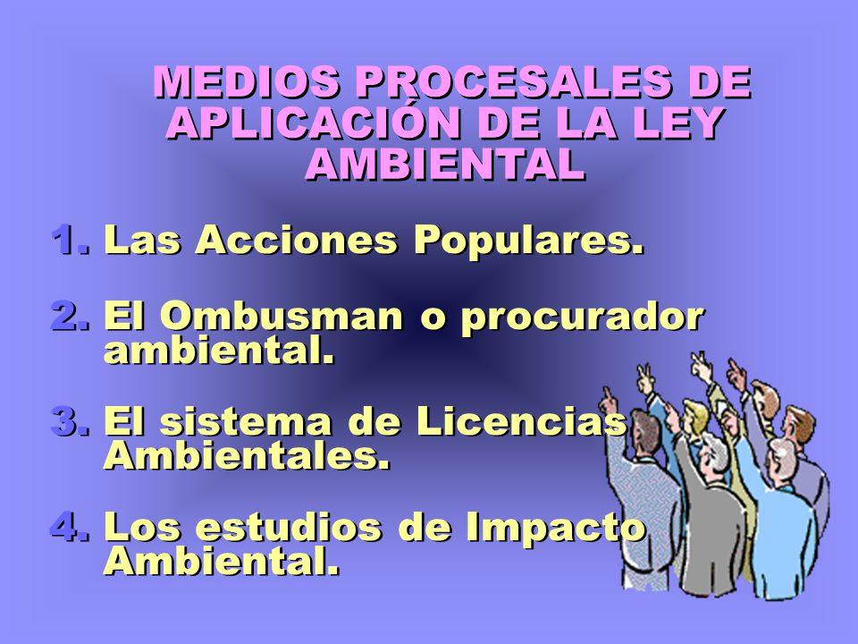 MEDIOS PROCESALES DE APLICACIÓN DE LA LEY AMBIENTAL