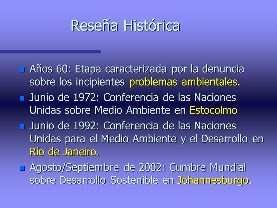 Reseña Histórica Años 60: Etapa caracterizada por la denuncia sobre los incipientes problemas ambientales.