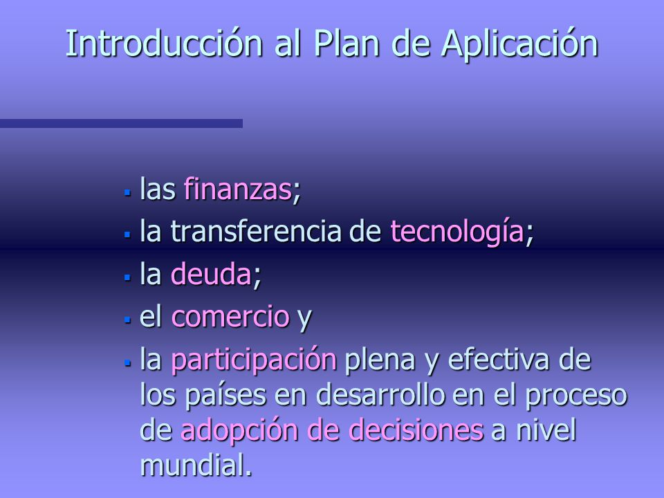 Introducción al Plan de Aplicación