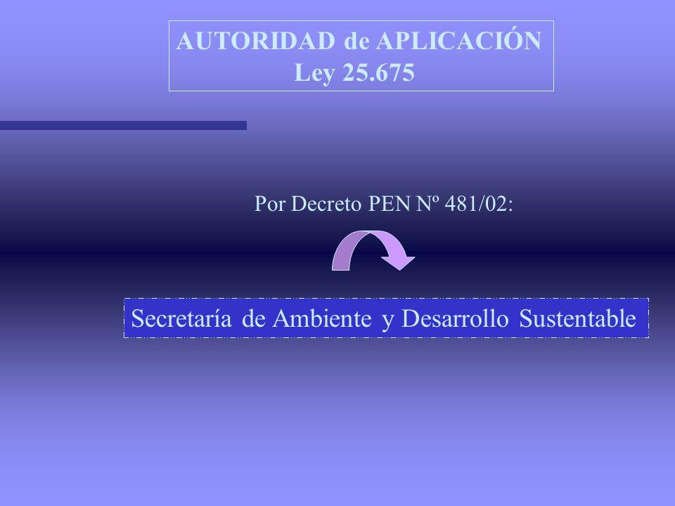 AUTORIDAD de APLICACIÓN Ley 25.675