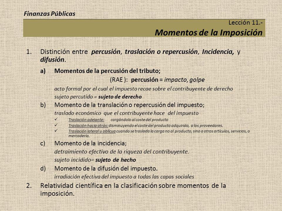 Lección 11.- Momentos de la Imposición