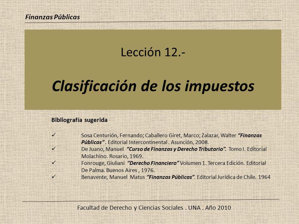 Lección 12.- Clasificación de los impuestos