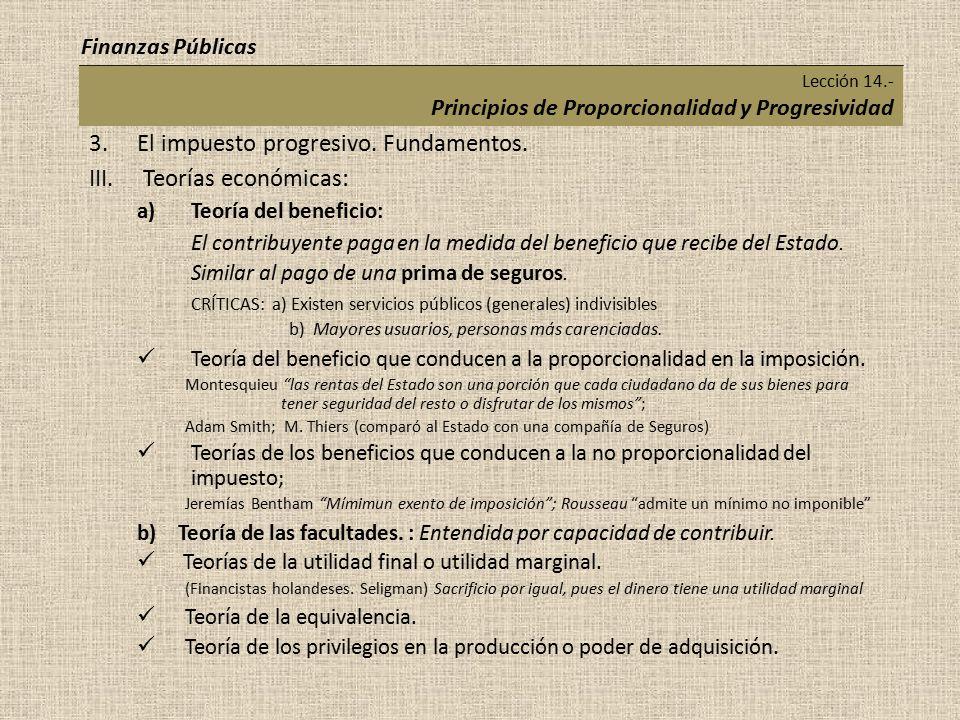 Lección 14.- Principios de Proporcionalidad y Progresividad