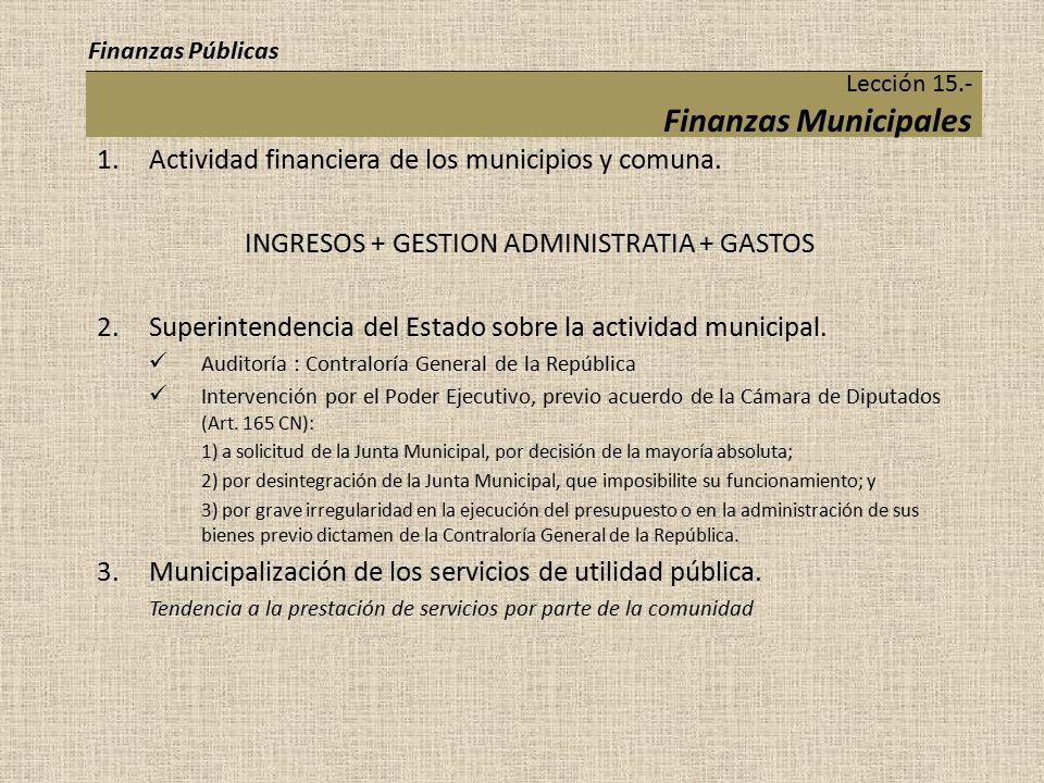 Lección 15.- Finanzas Municipales