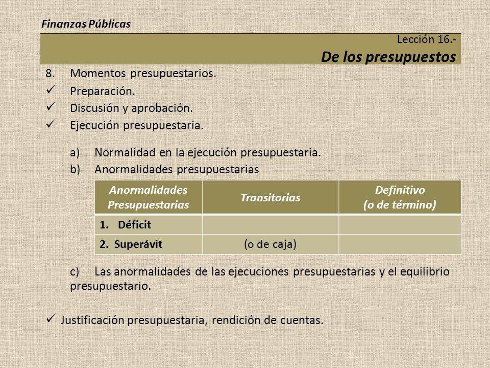 Lección 16.- De los presupuestos