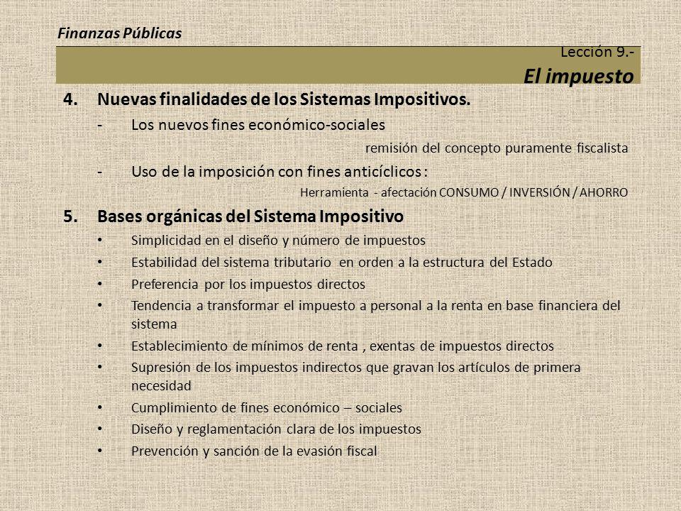 4. Nuevas finalidades de los Sistemas Impositivos.