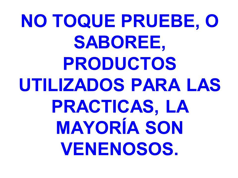 NO TOQUE PRUEBE, O SABOREE, PRODUCTOS UTILIZADOS PARA LAS PRACTICAS, LA MAYORÍA SON VENENOSOS.