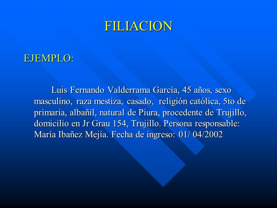 FILIACION EJEMPLO:
