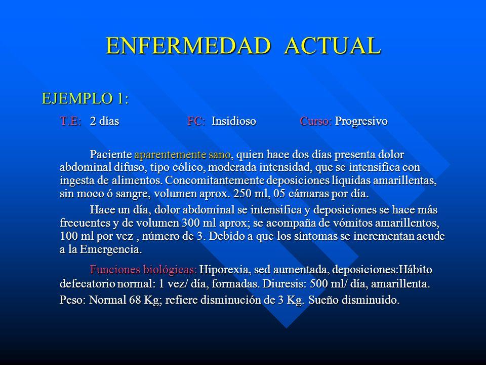 ENFERMEDAD ACTUAL EJEMPLO 1: