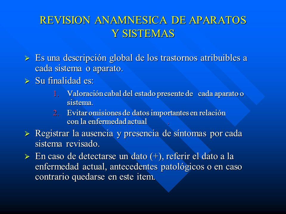 REVISION ANAMNESICA DE APARATOS Y SISTEMAS