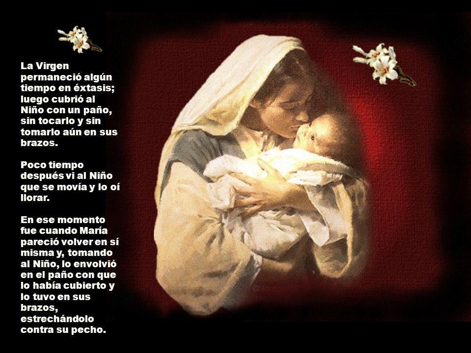 La Virgen permaneció algún tiempo en éxtasis; luego cubrió al Niño con un paño, sin tocarlo y sin tomarlo aún en sus brazos. Poco tiempo después vi al Niño que se movía y lo oí llorar.