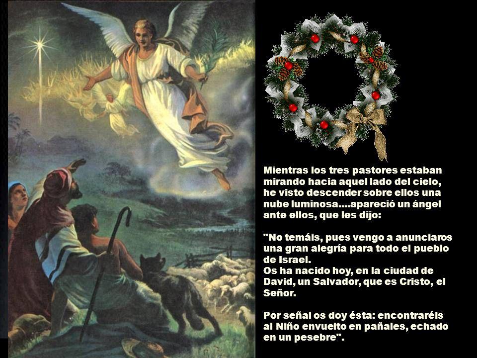Mientras los tres pastores estaban mirando hacia aquel lado del cielo, he visto descender sobre ellos una nube luminosa....apareció un ángel ante ellos, que les dijo: