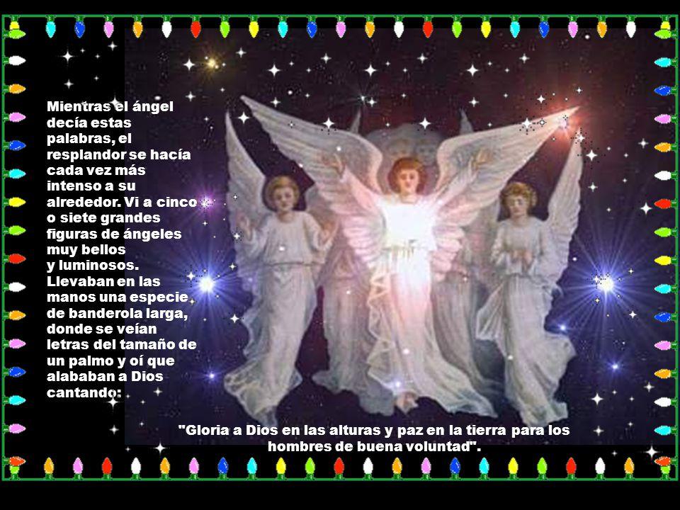 Mientras el ángel decía estas palabras, el resplandor se hacía cada vez más intenso a su alrededor. Vi a cinco o siete grandes figuras de ángeles muy bellos