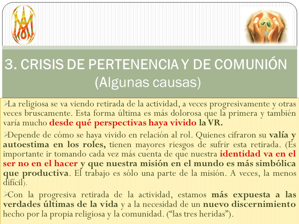 3. CRISIS DE PERTENENCIA Y DE COMUNIÓN (Algunas causas)