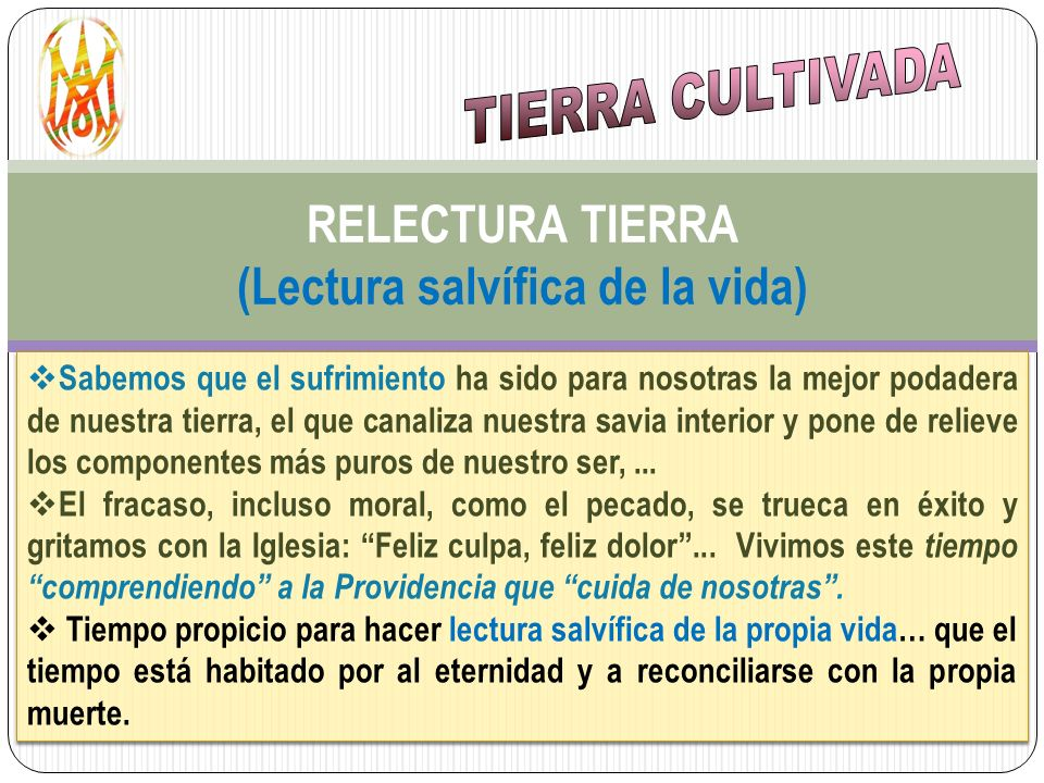 RELECTURA TIERRA (Lectura salvífica de la vida)