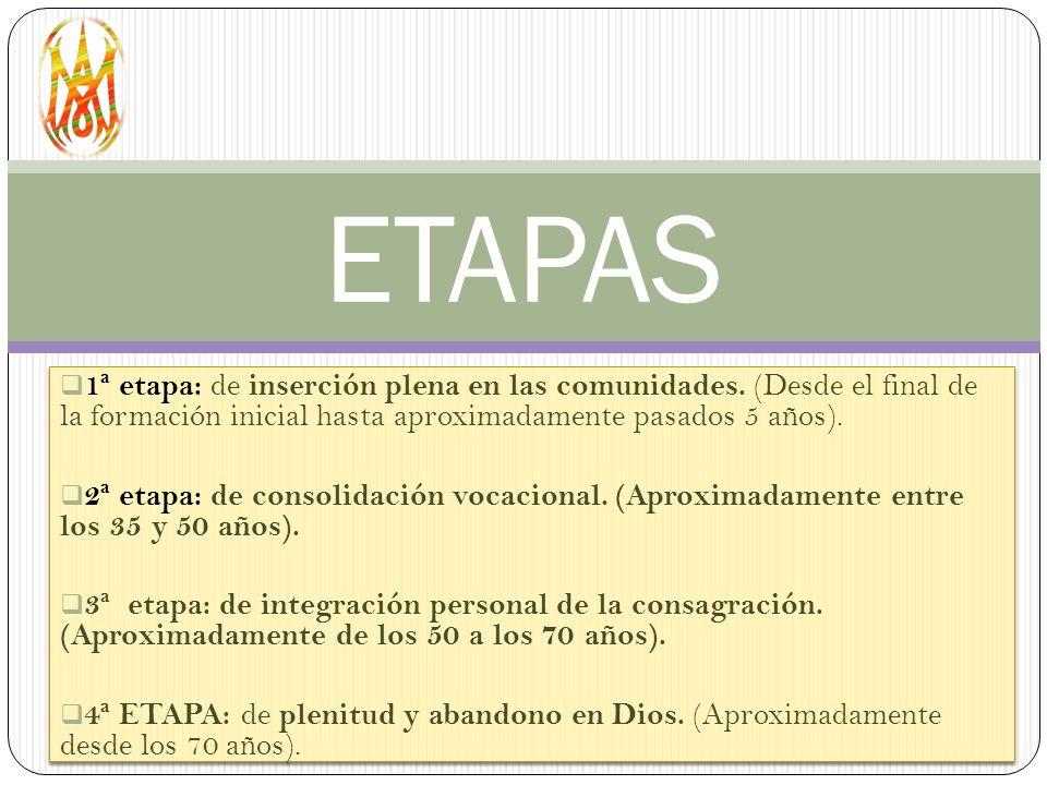 ETAPAS 1ª etapa: de inserción plena en las comunidades. (Desde el final de la formación inicial hasta aproximadamente pasados 5 años).