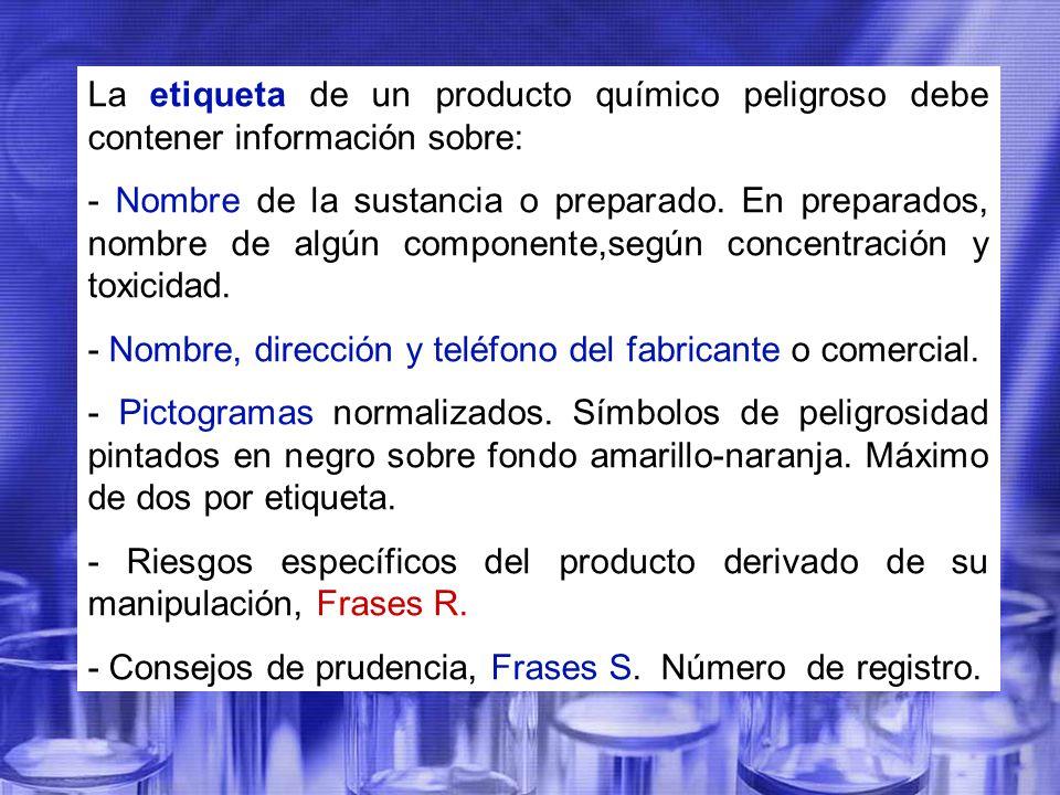 La etiqueta de un producto químico peligroso debe contener información sobre: