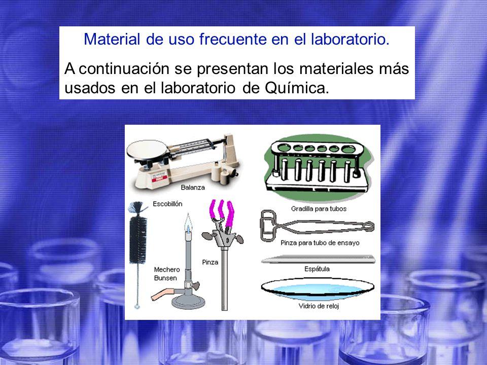 Material de uso frecuente en el laboratorio.