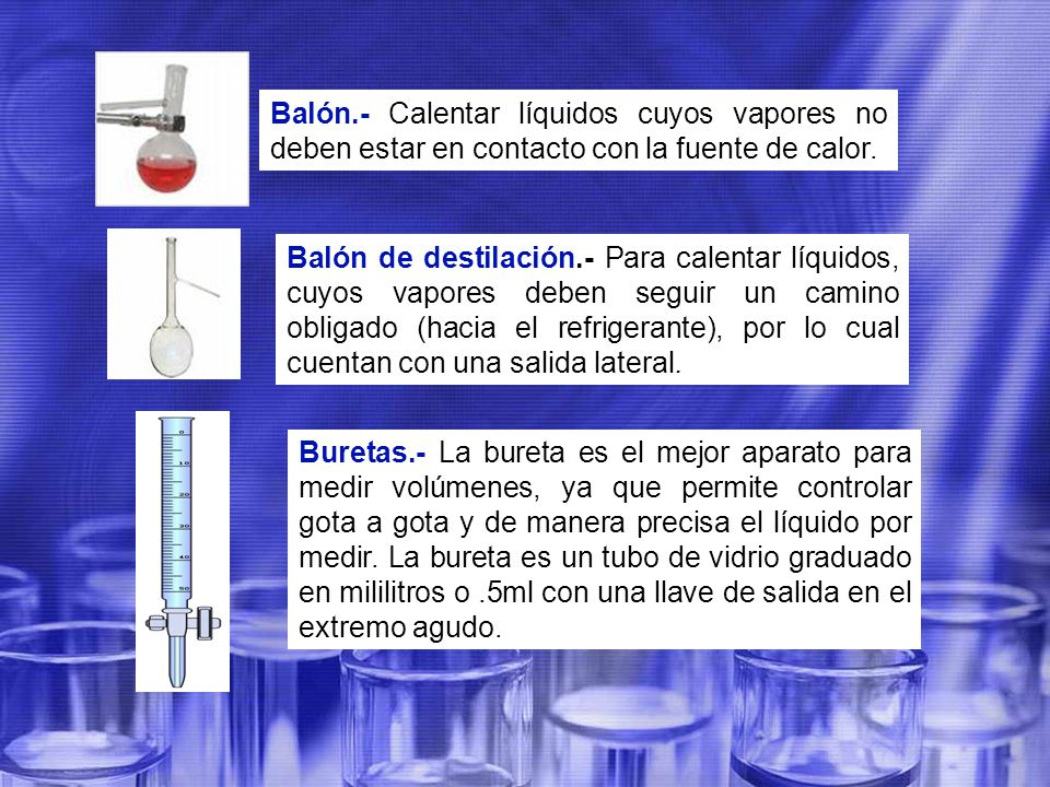 Balón.- Calentar líquidos cuyos vapores no deben estar en contacto con la fuente de calor.