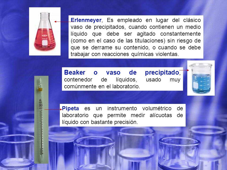 Erlenmeyer, Es empleado en lugar del clásico vaso de precipitados, cuando contienen un medio líquido que debe ser agitado constantemente (como en el caso de las titulaciones) sin riesgo de que se derrame su contenido, o cuando se debe trabajar con reacciones químicas violentas.