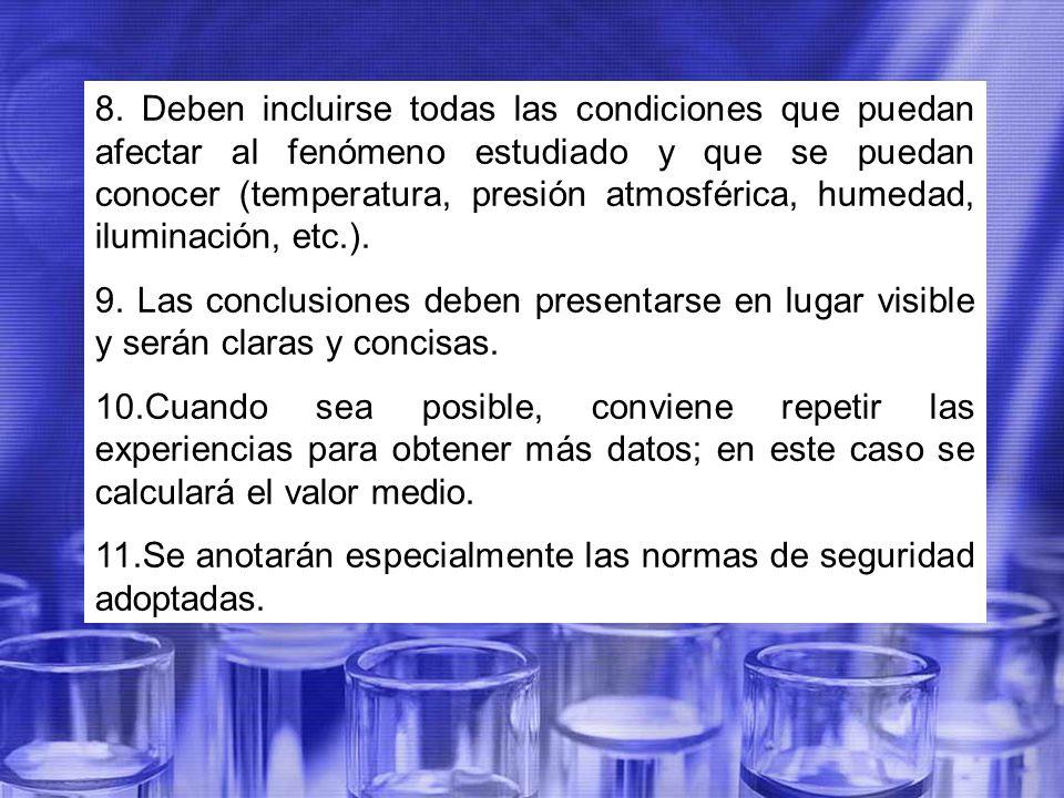 8. Deben incluirse todas las condiciones que puedan afectar al fenómeno estudiado y que se puedan conocer (temperatura, presión atmosférica, humedad, iluminación, etc.).