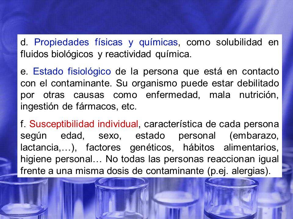 d. Propiedades físicas y químicas, como solubilidad en fluidos biológicos y reactividad química.