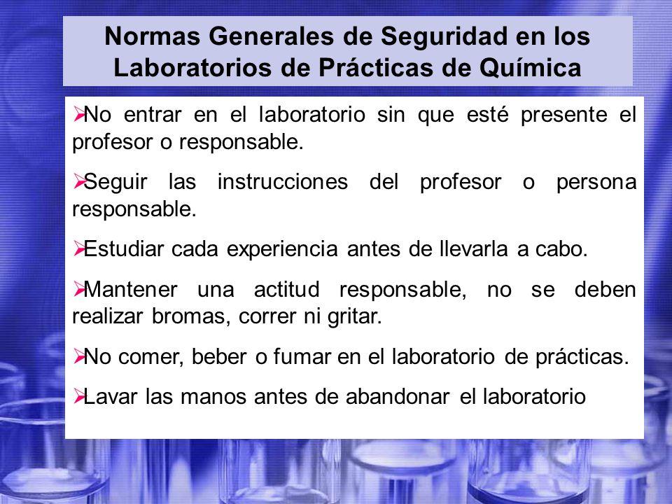 Normas Generales de Seguridad en los Laboratorios de Prácticas de Química
