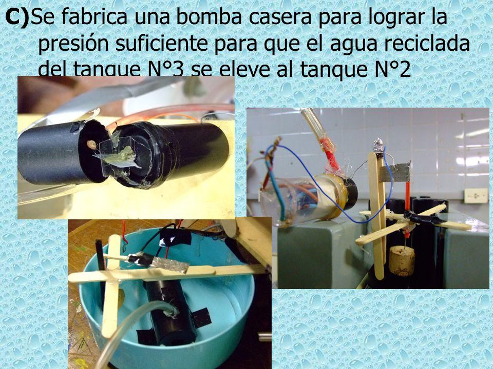 Se fabrica una bomba casera para lograr la presión suficiente para que el agua reciclada del tanque N°3 se eleve al tanque N°2