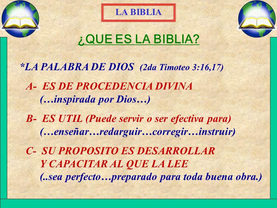 ¿QUE ES LA BIBLIA *LA PALABRA DE DIOS (2da Timoteo 3:16,17)