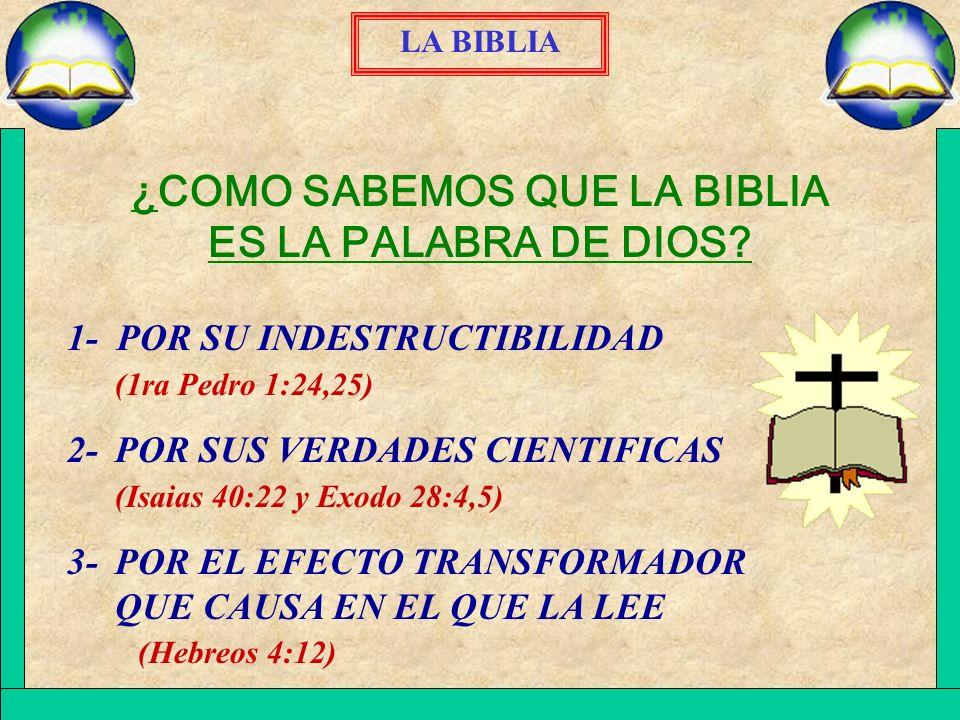 ¿COMO SABEMOS QUE LA BIBLIA ES LA PALABRA DE DIOS