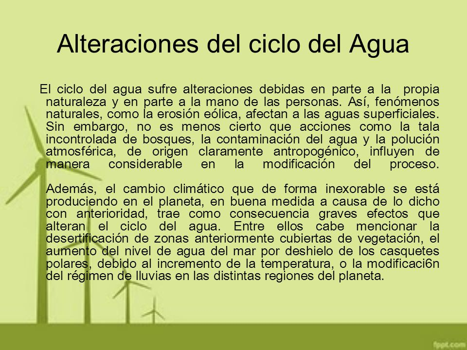 Alteraciones del ciclo del Agua