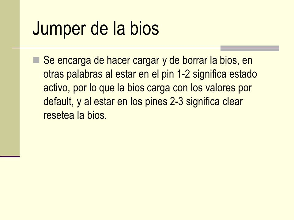 Jumper de la bios