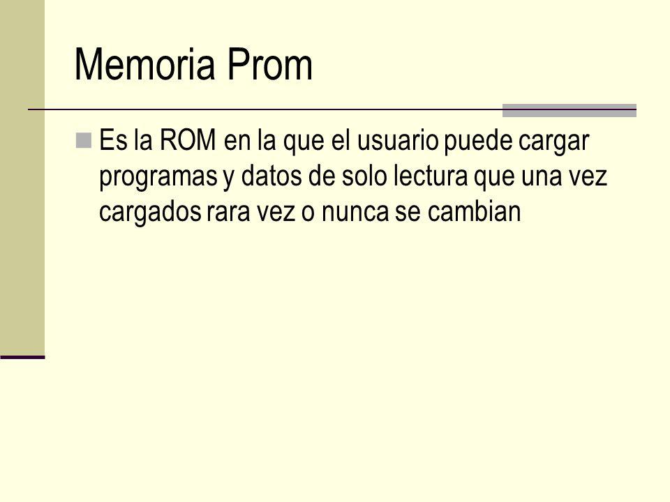 Memoria Prom Es la ROM en la que el usuario puede cargar programas y datos de solo lectura que una vez cargados rara vez o nunca se cambian.