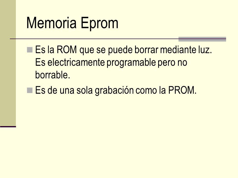 Memoria Eprom Es la ROM que se puede borrar mediante luz. Es electricamente programable pero no borrable.