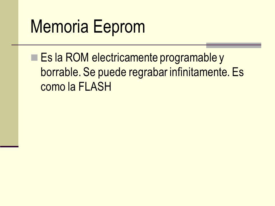 Memoria Eeprom Es la ROM electricamente programable y borrable.