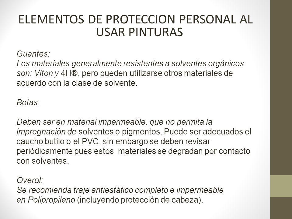 ELEMENTOS DE PROTECCION PERSONAL AL USAR PINTURAS