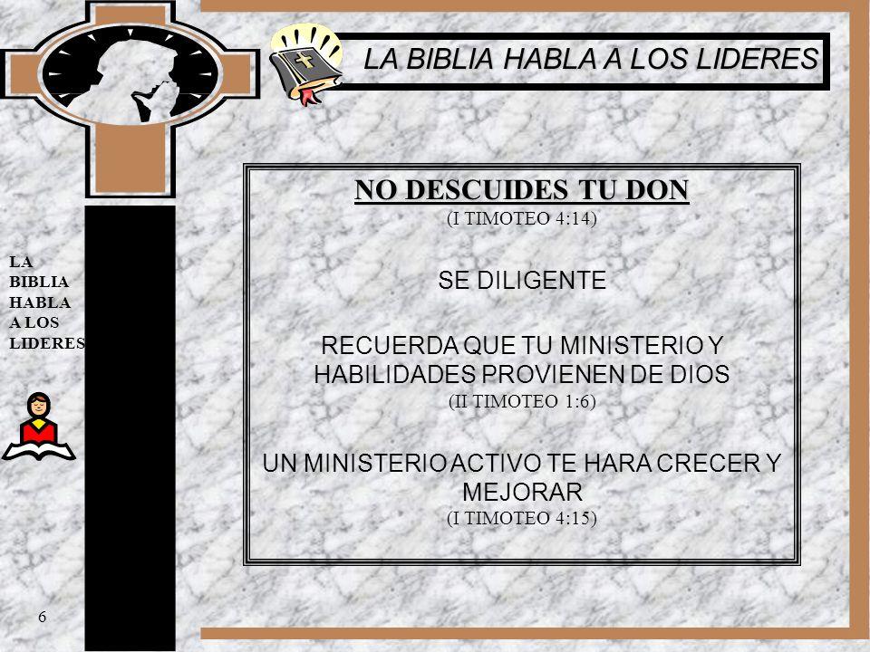 LA BIBLIA HABLA A LOS LIDERES