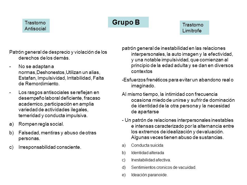 Grupo B Trastorno Antisocial Trastorno Limítrofe