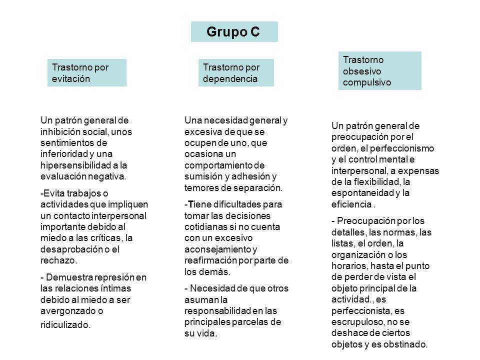 Grupo C Trastorno obsesivo compulsivo. Trastorno por evitación. Trastorno por dependencia.