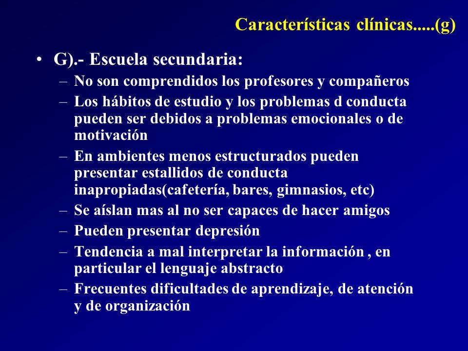Características clínicas.....(g)