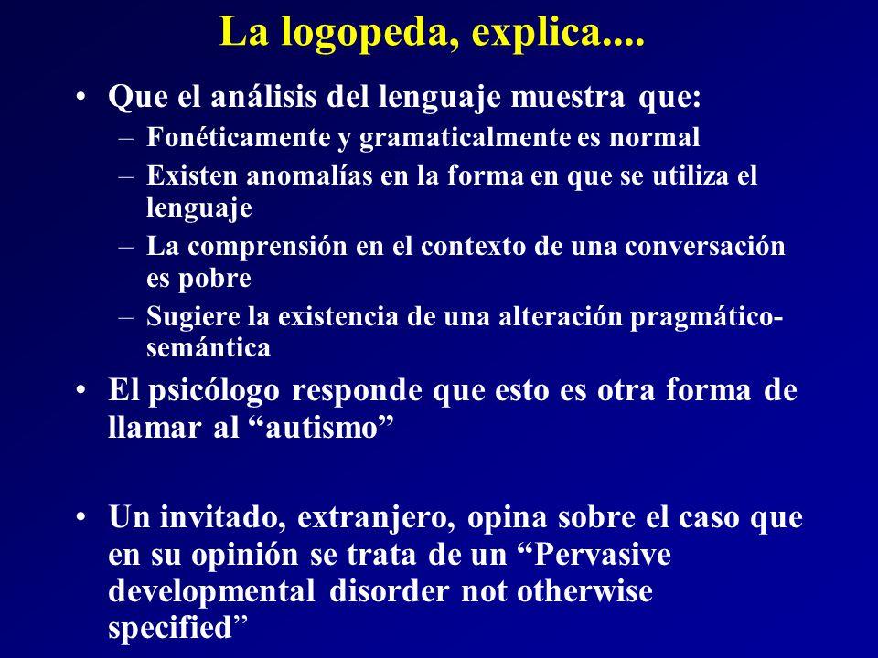 La logopeda, explica.... Que el análisis del lenguaje muestra que:
