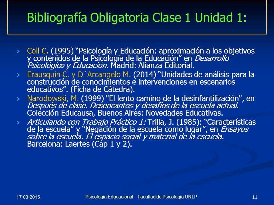 Bibliografía Obligatoria Clase 1 Unidad 1: