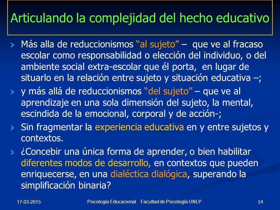 Articulando la complejidad del hecho educativo
